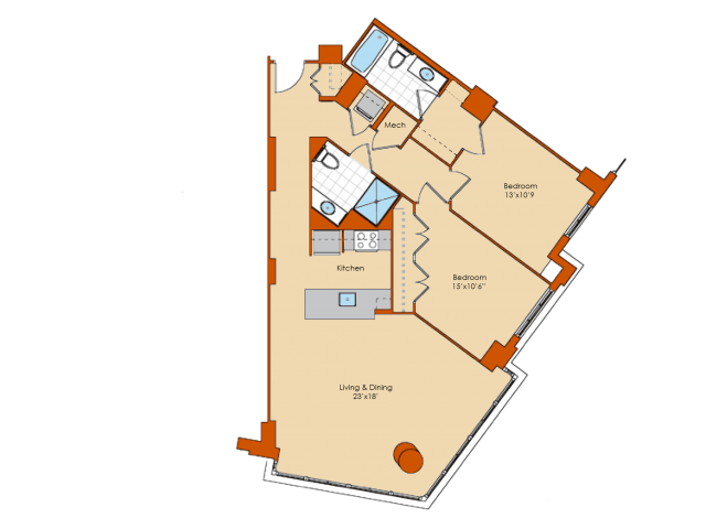 2 Bedroom Floor Plan | Apartments In Washington DC | Park Triangle Apartments Lofts and Flats