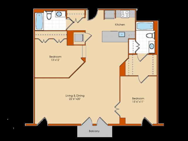2 Bdrm Floor Plan | Apartments For Rent Washington DC | Park Triangle Apartments Lofts and Flats