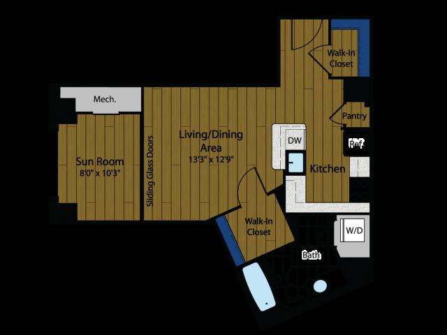 Studio Floor Plan | Meridian at Gallery Place