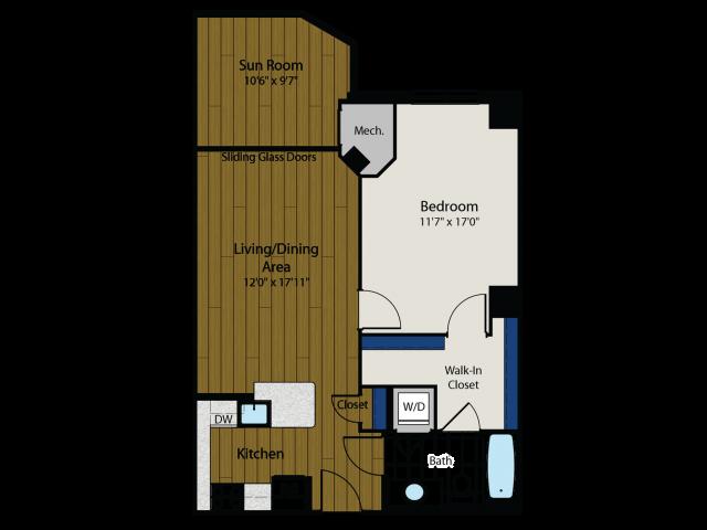 1 Bedroom Floor Plan | Meridian at Gallery Place 2