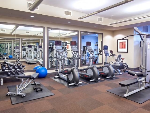 Fitness Center With Free Weights   Carlyle Place   Alexandria Apartments