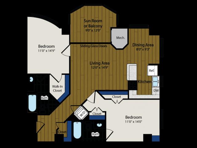 Floor Plan 2 | Luxury Apartments In Arlington VA | Meridian at Ballston Commons