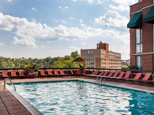 Swimming Pool and Sun Deck | Meridian at Courthouse Commons| Arlington, VA Apartments