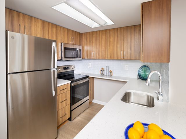 Newly Renovated Kitchen With Quartz Counter Tops, Tile Backsplash, Wood-Style Flooring and Stainless Steel Appliances