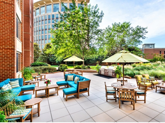 Courtyard With Grilling Stations | Meridian at Eisenhower Station | Alexandria VA Apartments