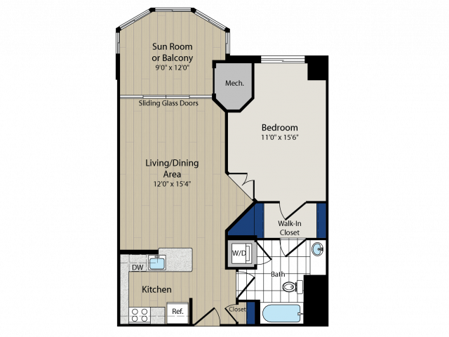 Floor Plan 1 | Luxury Apartments In Arlington VA | Meridian at Ballston Commons