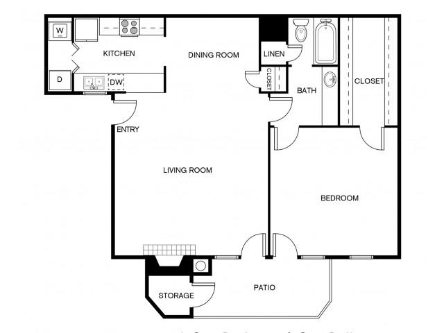 A1BR Floor Plan