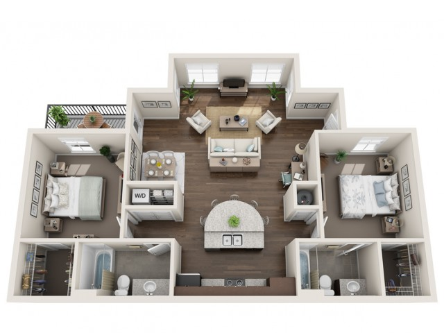 Two Bed Two Bath_1110 sqft