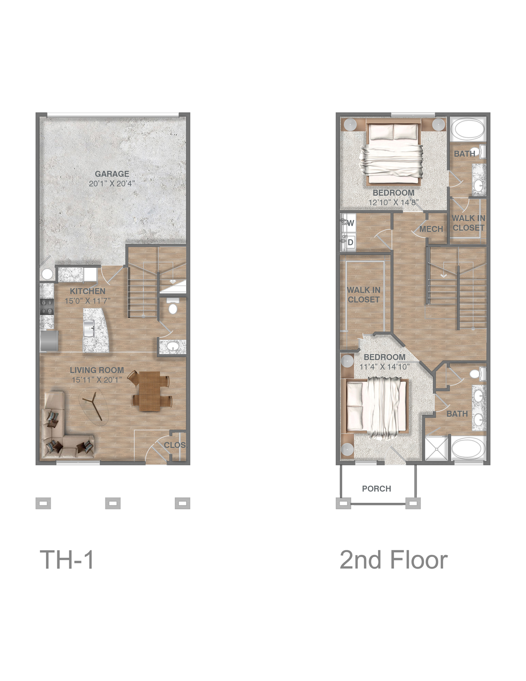 Two Bedroom Townhome with Attached Garage
