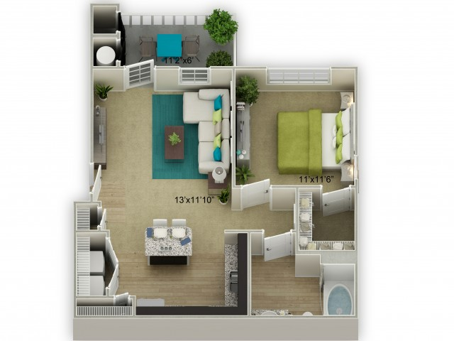 Legends at Azalea 1 Bedroom Azalea Floor Plan Image