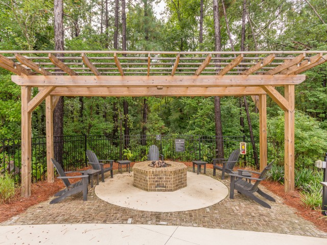 Outdoor gathering area with firepit