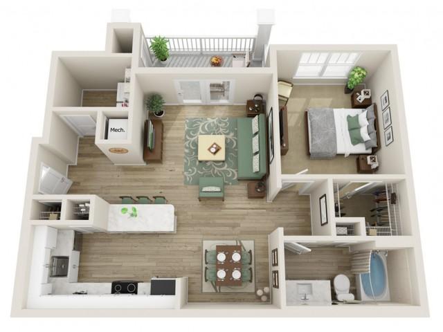 Image of The Juniper One Bedroom Floor Plan