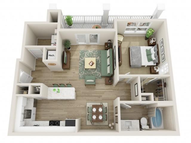 Image of The Juniper Alternate One Bedroom Floor Plan