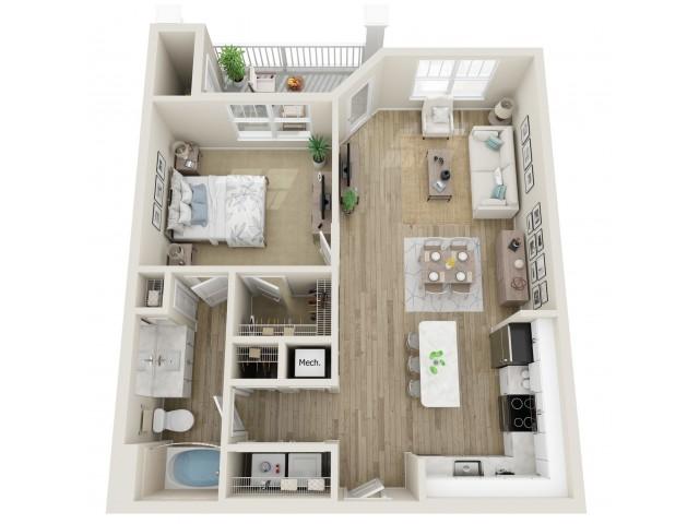 Image of The Waleska One Bedroom Floor Plan