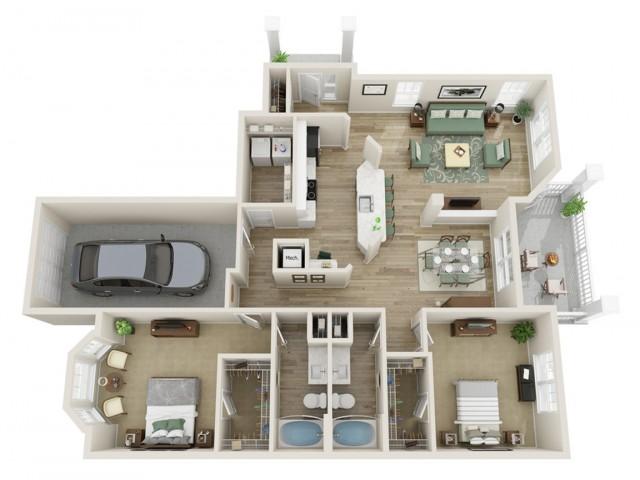 Image of The Rhinehardt Two Bedroom Floor Plan