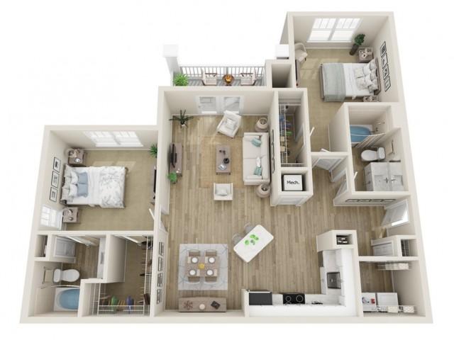 Image of The Riverstone Two Bedroom Floor Plan