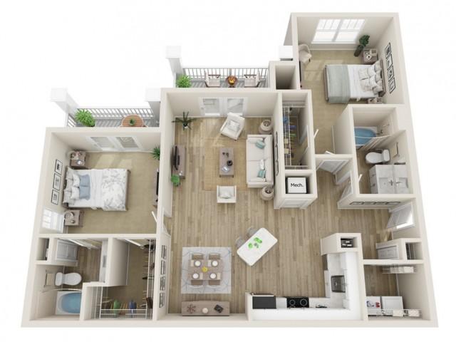 Image of The Riverstone Alternate Two Bedroom Floor Plan