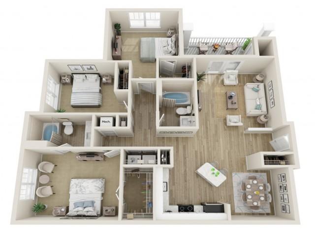 Image of The Canton Three Bedroom Floor Plan