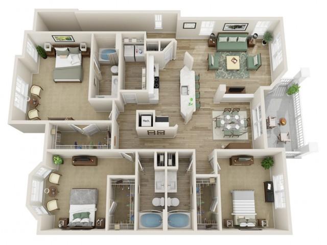 Image of The Laurel Three Bedroom Floor Plan