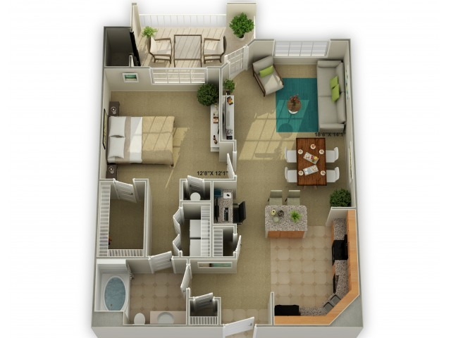 Photo of The Oakwood One Bedroom Floor Plan
