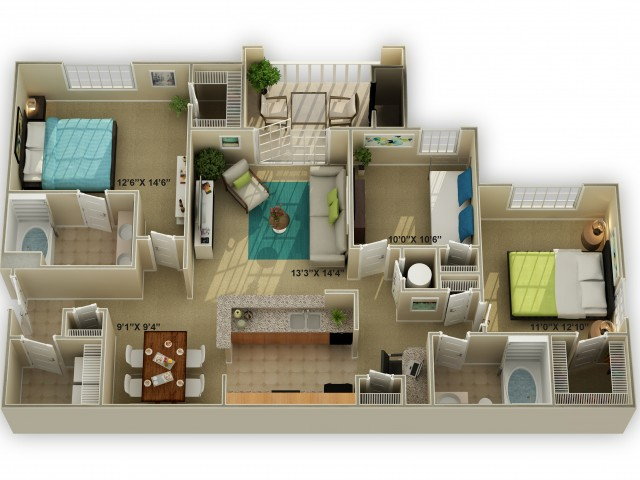 Photo of The Walden Three Bedroom Floor Plan