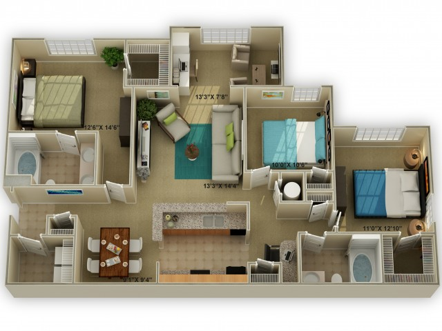 Photo of The Walden with Sunroom Three Bedroom Floor Plan