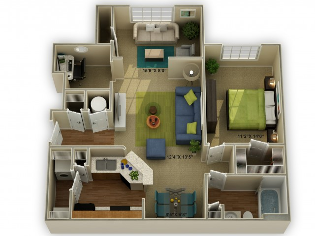 Photo of The Meadowview with Sunroom One Bedroom Floor Plan