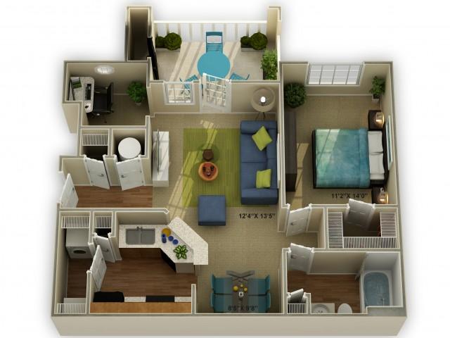 Photo The Meadowview One Bedroom Floor Plan