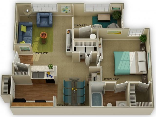 Photo of The Oakwood with Sunroom  One Bedroom Floor Plan