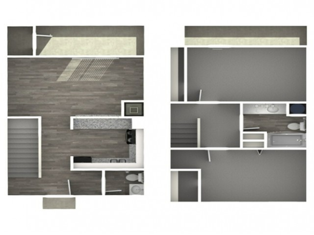 The Park at River City   Two Bedroom   One Bathroom   Townhouse