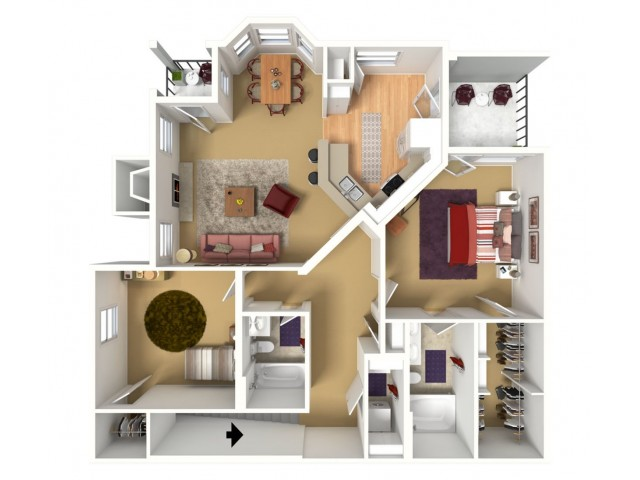 1239 sq. ft. 2 BED with 1 car garage