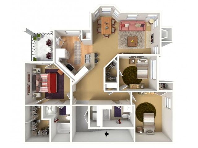 1343 sq. ft. 3BED with garage.