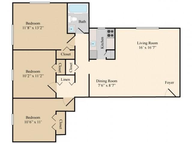 3 Bedroom 1 Bath