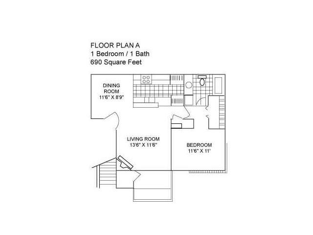One Bedroom I 690 sqft