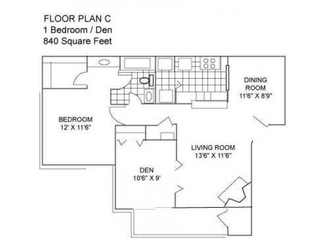 Two Bedroom I 840 sqft