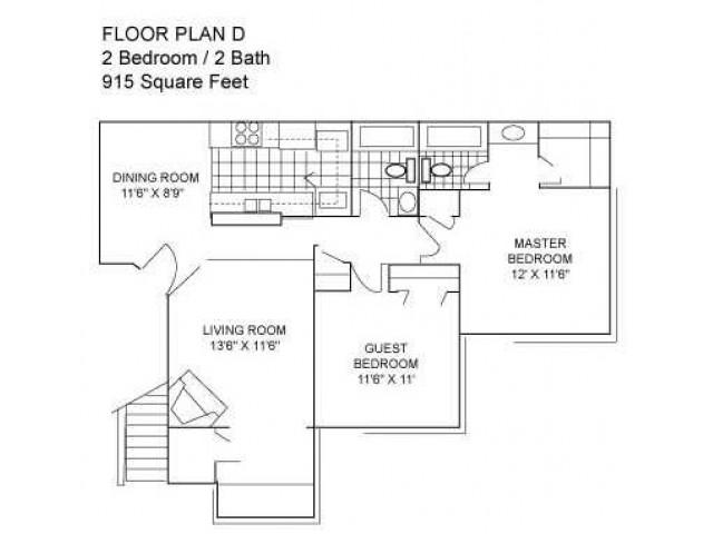 Two Bedroom I 915 sqft