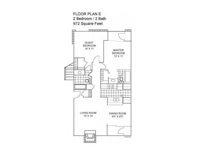 Two Bedroom I 972 sqft