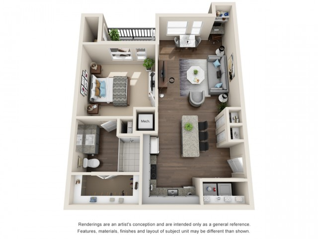 One Bedroom   711 sqft