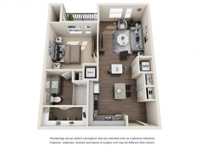 One Bedroom   703 sqft