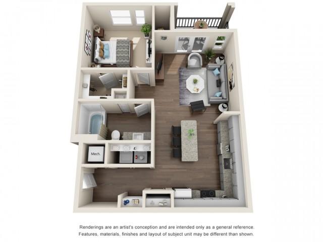 One Bedroom   763 sqft