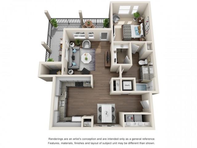 One Bedroom   805 sqft