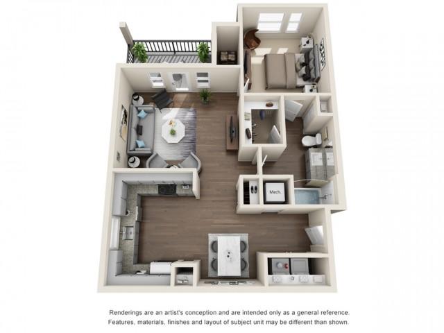 One Bedroom   832 sqft