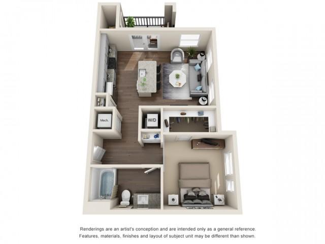 One Bedroom   656 sqft