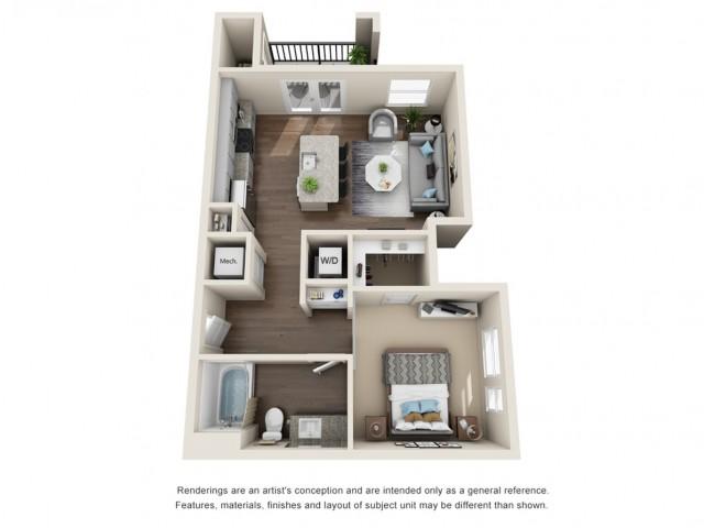 One Bedroom   658 sqft
