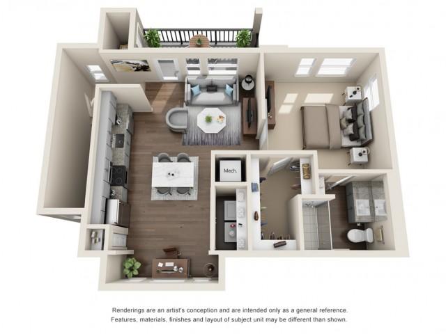 One Bedroom   797 sqft