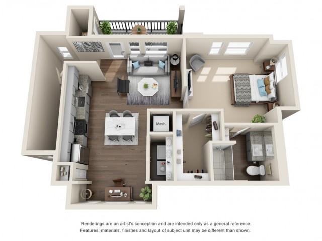 One Bedroom   834 sqft
