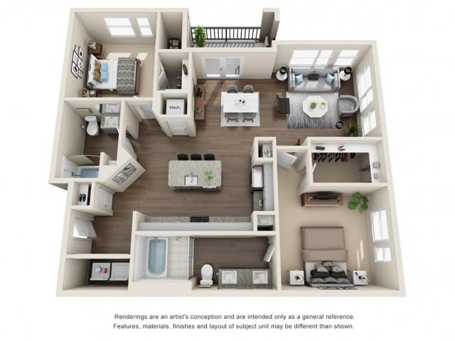 Two Bedroom   Two Bathroom   1271 sqft