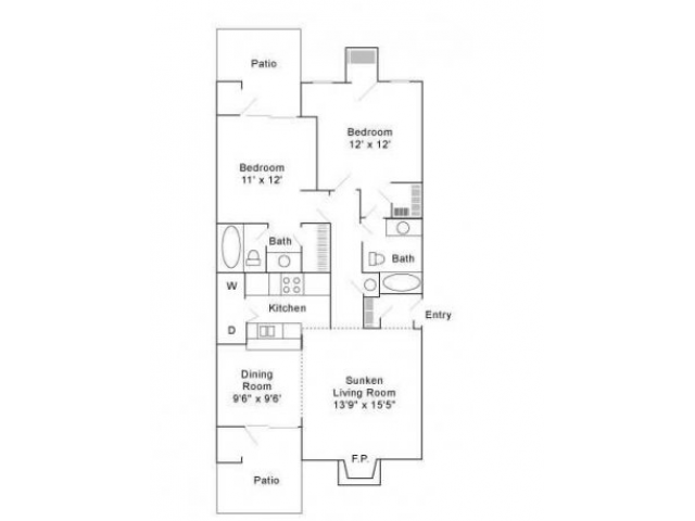 Two Bedroom | Two Bathroom | 990 sqft