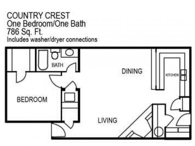One Bedroom / One Bathroom 786 sqft