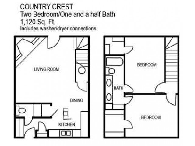 Two Bedroom / One and a Half Bathroom, 1120 sqft
